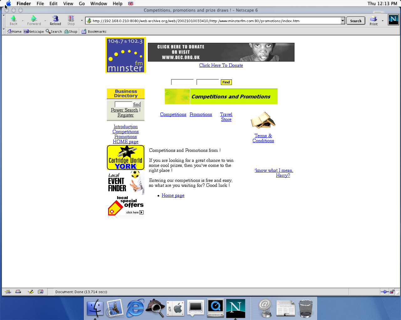 OS X 10.0 PPC with Netscape 6.1 displaying a page from Minster FM archived at October 10, 2002 at 03:34:10