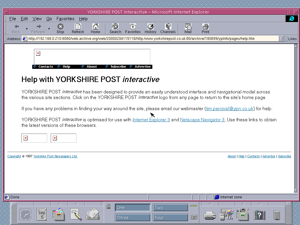 Solaris 2.6 SPARC with Internet Explorer 4.0 for UNIX displaying a page from The Yorkshire Post archived at February 04, 2000 at 11:51:18