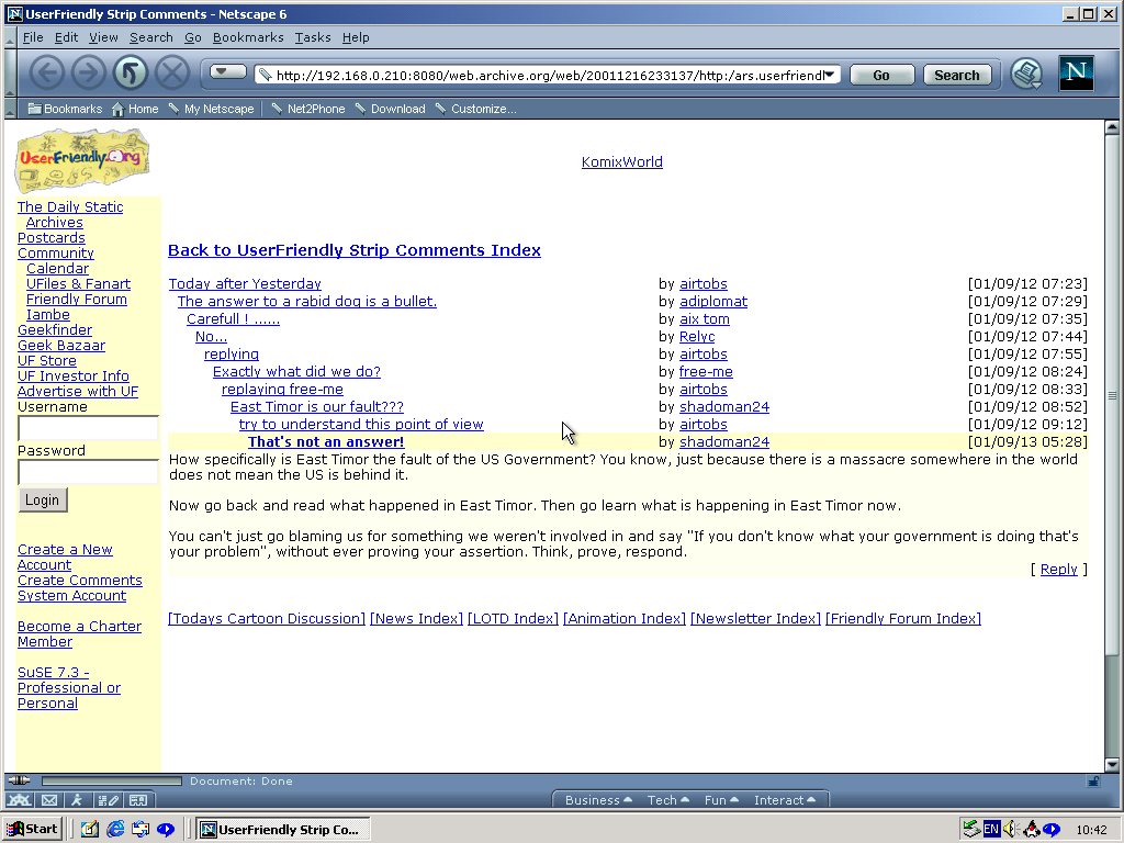 Windows 2000 Pro x86 with Netscape 6.0 displaying a page from User Friendly archived at December 16, 2001 at 23:31:37