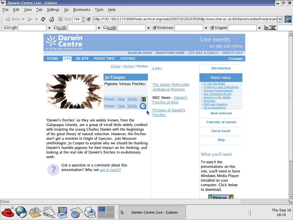 Red Hat 9.0 with Galeon 1.2.7 displaying a page from Natural History Museum archived at October 22, 2003 at 02:03:59