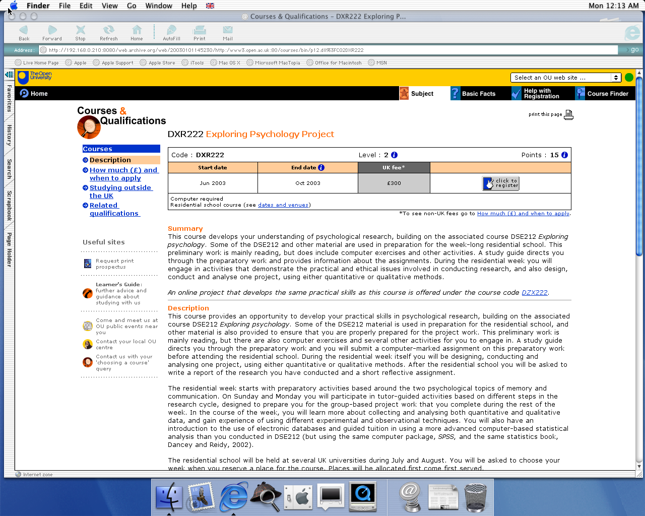 OS X 10.0 PPC with Microsoft Internet Explorer 5.1 for Mac Preview displaying a page from Open University archived at January 01, 2003 at 14:52:30