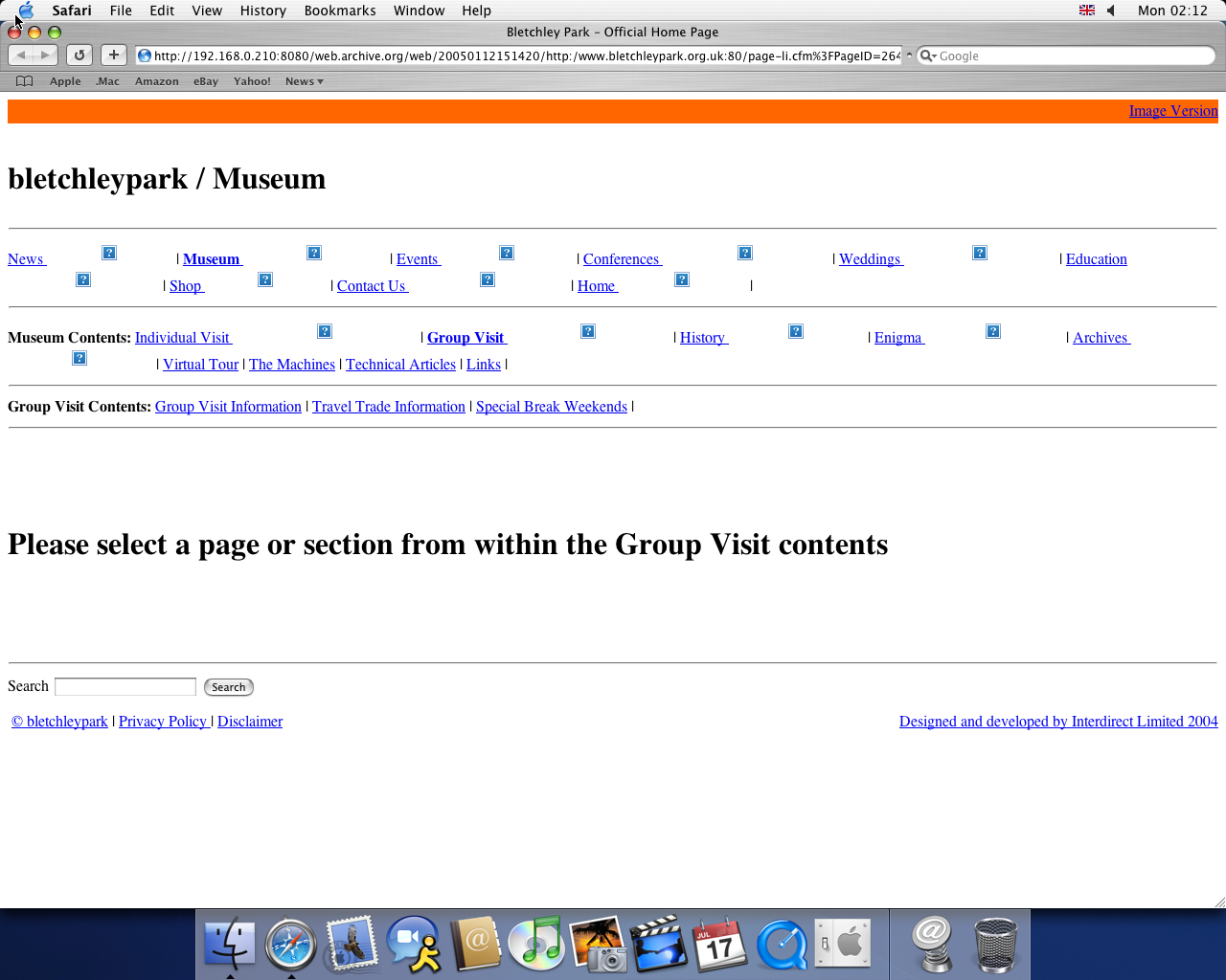 OS X 10.3 PPC with Safari 1.1 displaying a page from Bletchley Park Museum archived at January 12, 2005 at 15:14:20