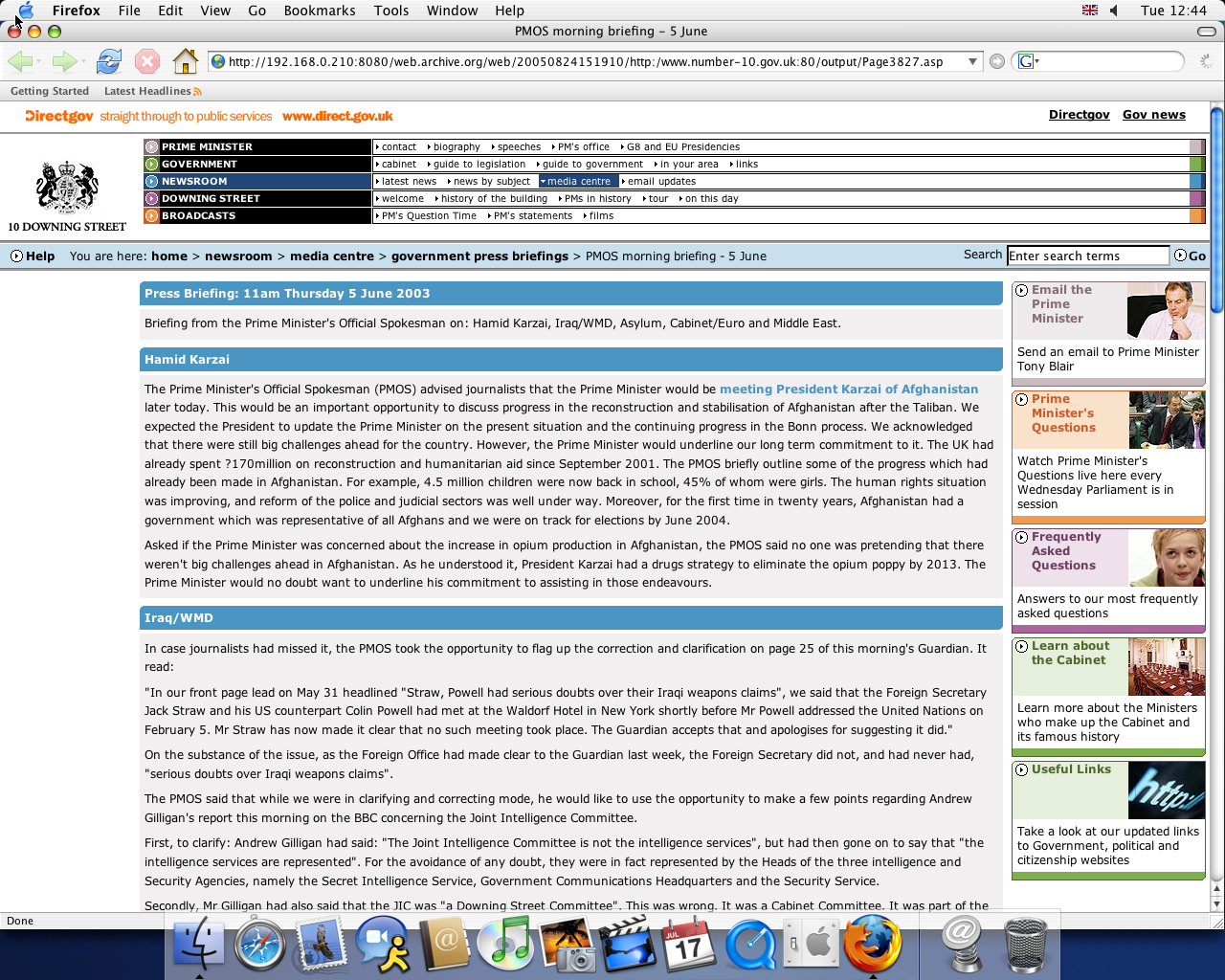 OS X 10.3 PPC with Mozilla Firefox 1.0 displaying a page from Office of the Prime Minister archived at August 24, 2005 at 15:19:10