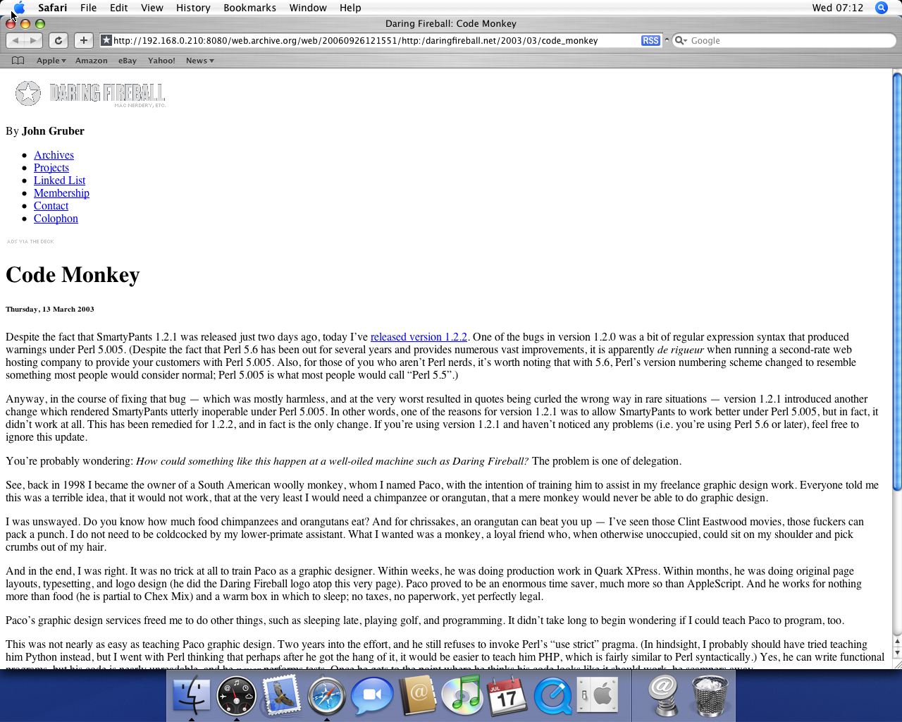 OS X 10.4 PPC with Safari 2.0 displaying a page from Daring Fireball archived at September 26, 2006 at 12:15:51