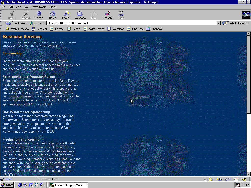 Windows 98 RTM x86 with Netscape Navigator 4.5 displaying a page from York Theatre Royal archived at April 19, 2000 at 20:20:27
