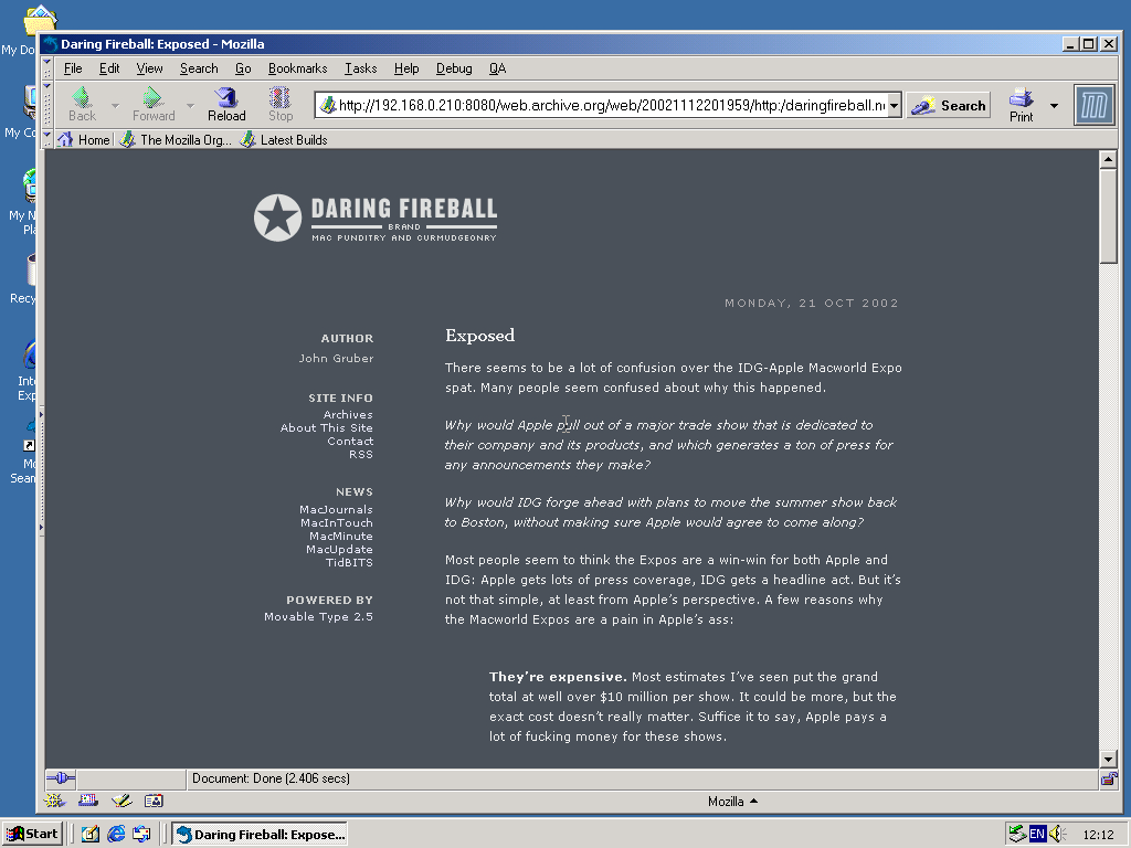 Windows 2000 Pro x86 with Mozilla Suite 0.6 displaying a page from Daring Fireball archived at November 12, 2002 at 20:19:59