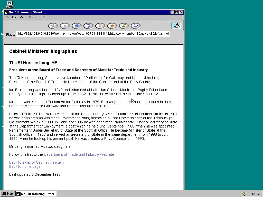 Windows 95 OSR2 x86 with HotJava 1.0 displaying a page from Office of the Prime Minister archived at April 16, 1997 at 13:48:11