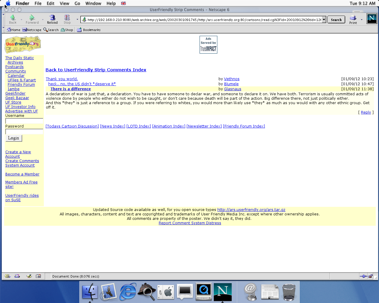 OS X 10.0 PPC with Netscape 6.1 displaying a page from User Friendly archived at March 01, 2002 at 09:17:45