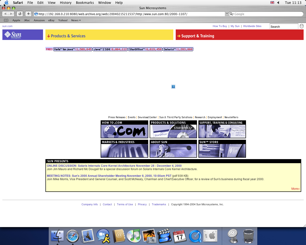 OS X 10.3 PPC with Safari 1.1 displaying a page from Sun Microsystems archived at February 15, 2004 at 21:15:37