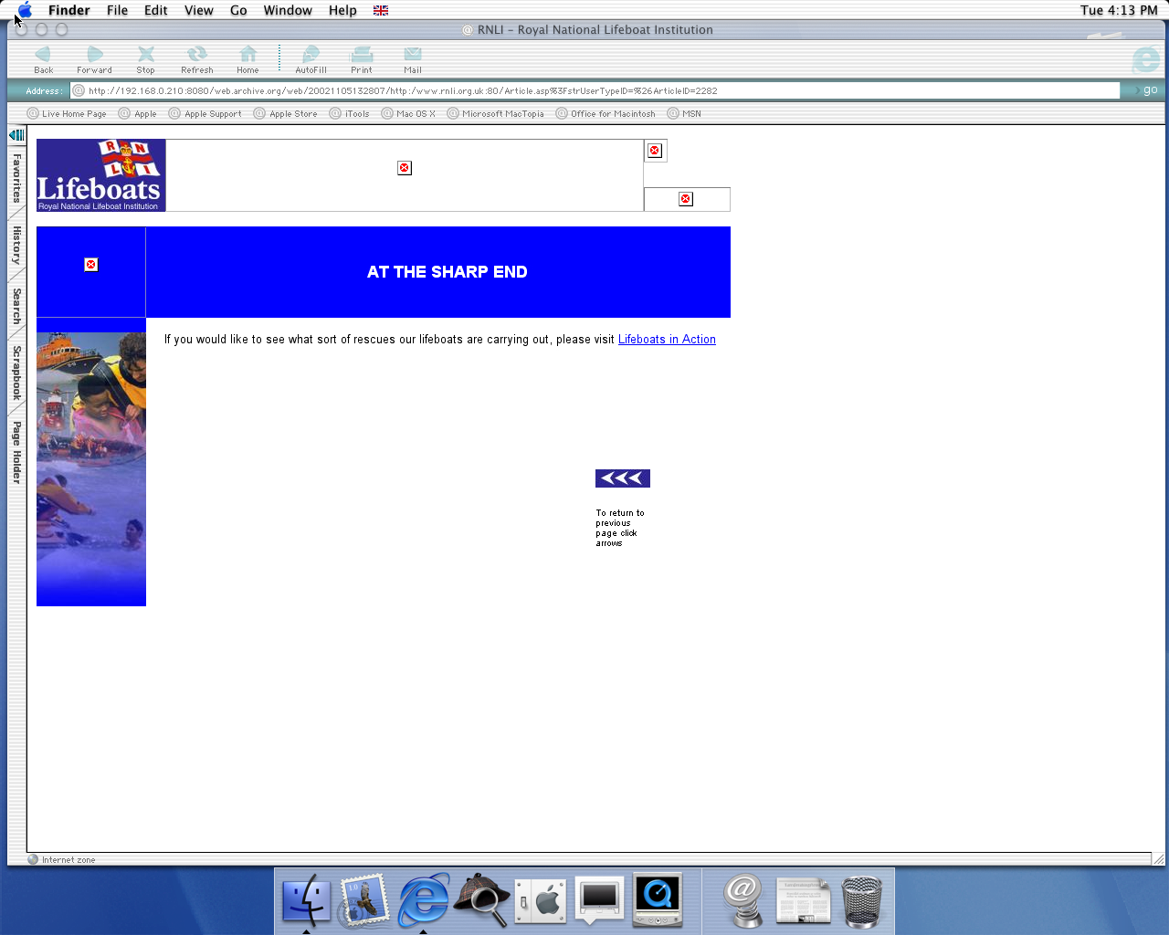 OS X 10.0 PPC with Microsoft Internet Explorer 5.1 for Mac Preview displaying a page from RNLI archived at November 05, 2002 at 13:28:07