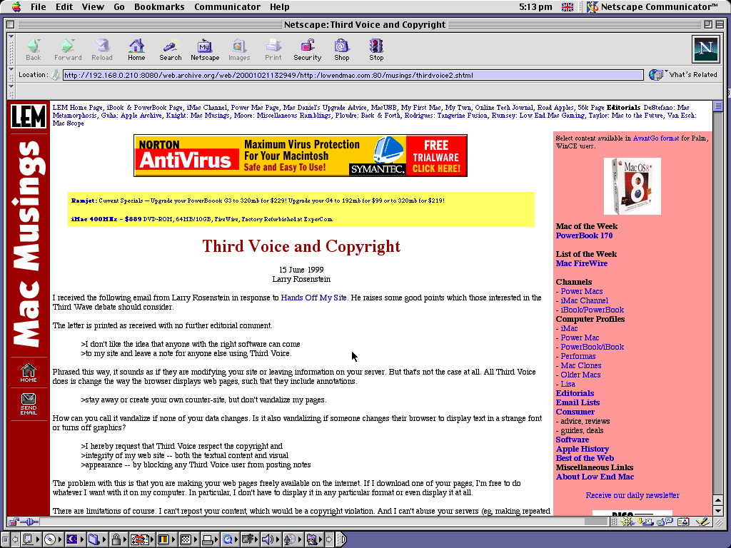 Mac OS 9.0.4 PPC with Netscape Communicator 4.73 displaying a page from Low End Mac archived at October 21, 2000 at 13:29:49