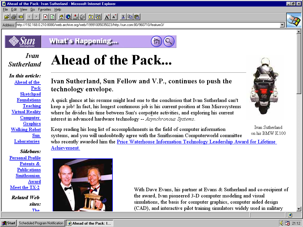 Windows 95 RTM x86 with Internet Explorer 2.0 displaying a page from Sun Microsystems archived at October 05, 1999 at 03:50:23