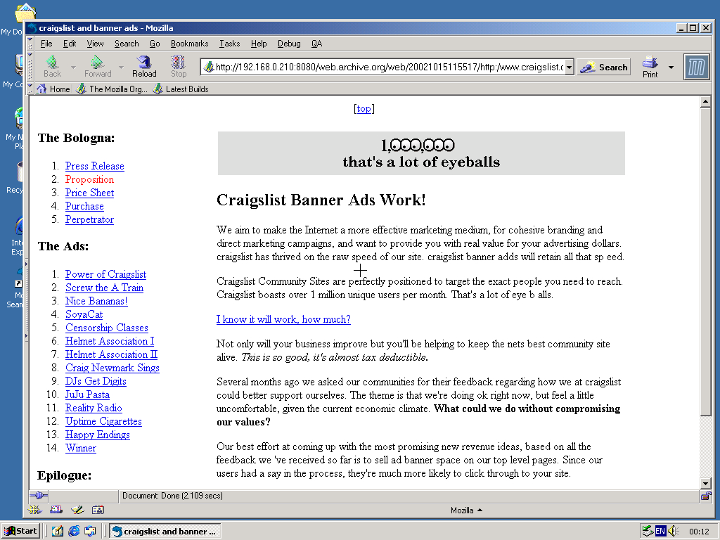 Windows 2000 Pro x86 with Mozilla Suite 0.6 displaying a page from craigslist archived at October 15, 2002 at 11:55:17