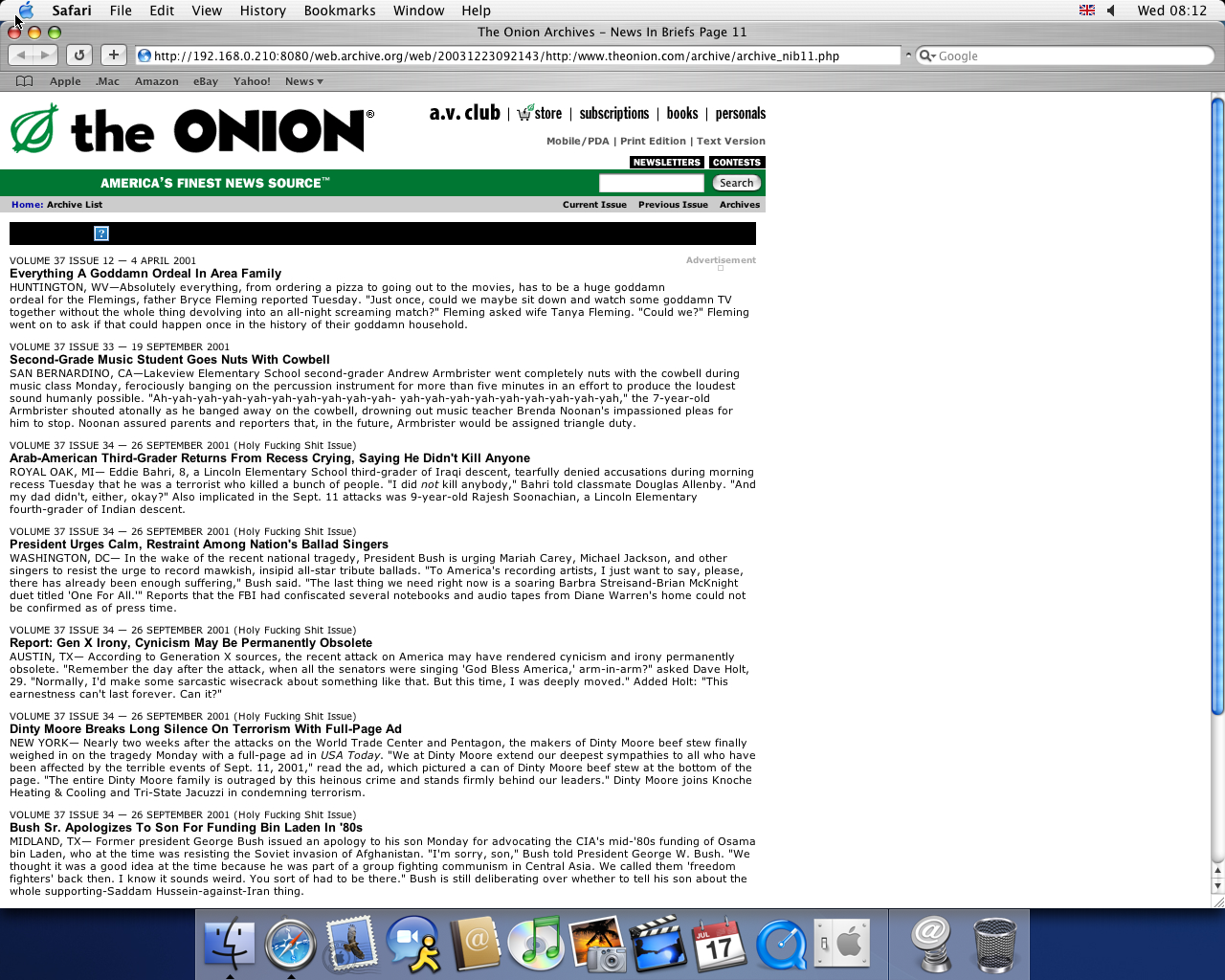 OS X 10.3 PPC with Safari 1.1 displaying a page from The Onion archived at December 23, 2003 at 09:21:43