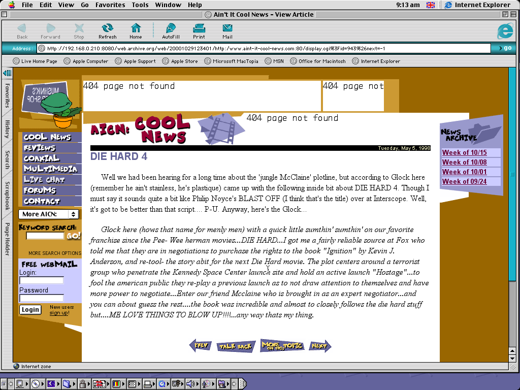 Mac OS 9.0.4 PPC with Internet Explorer 5.0 displaying a page from Ain't it Cool News archived at October 29, 2000 at 12:34:01