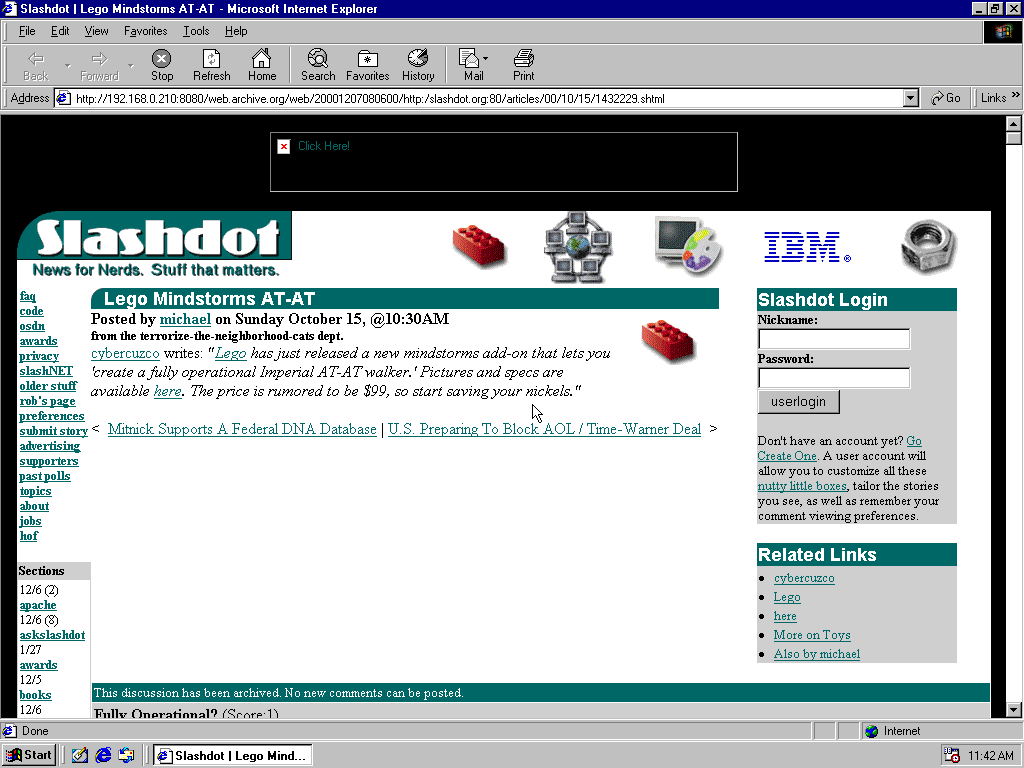 Windows 98 SE x86 with Internet Explorer 5.0 displaying a page from Slashdot archived at December 07, 2000 at 08:06:00