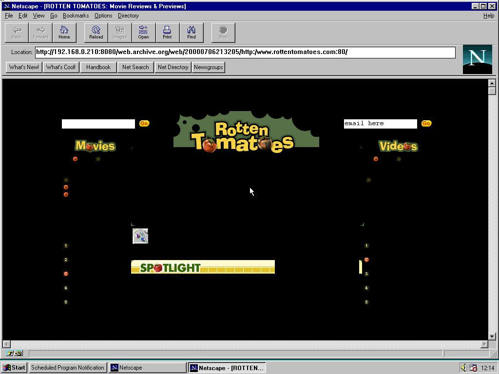 Windows 95 RTM x86 with Netscape Navigator 1.1 displaying a page from Rotten Tomatoes archived at July 06, 2000 at 21:32:05