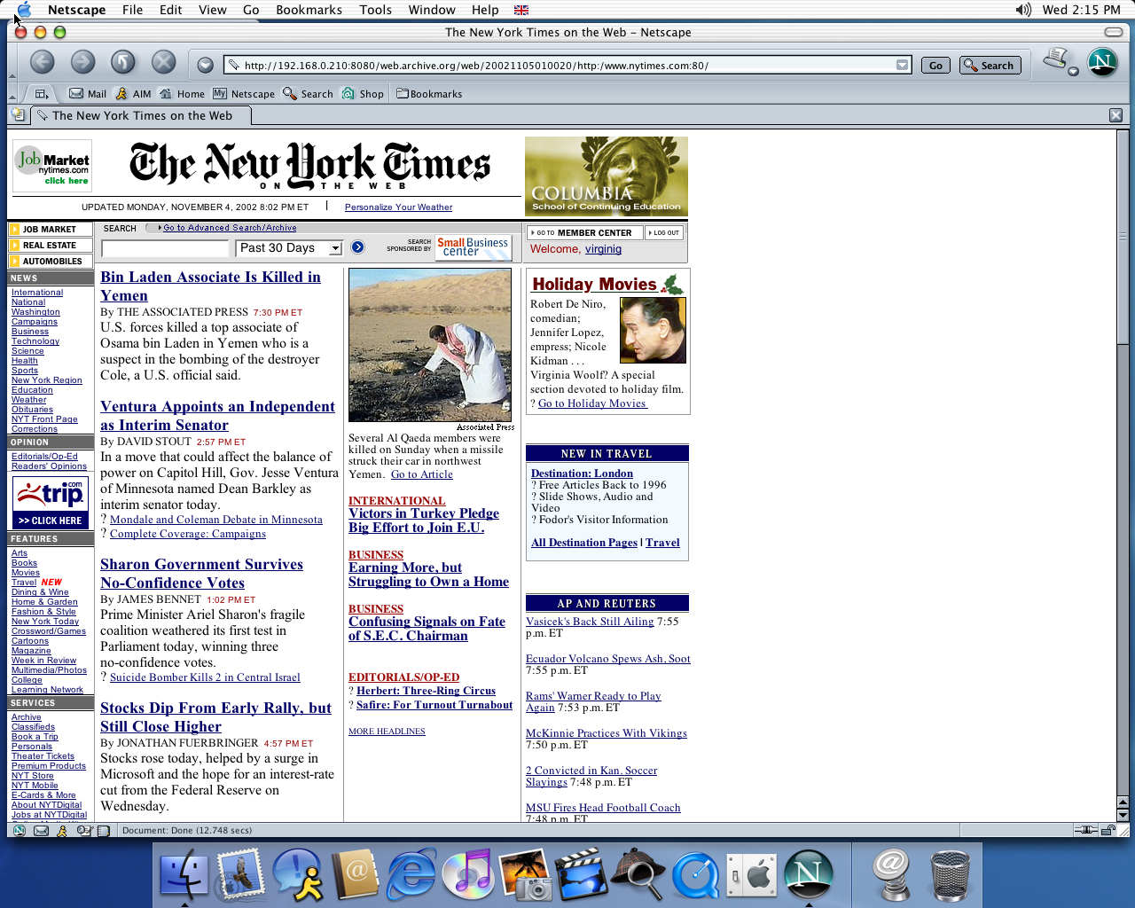 OS X 10.2 PPC with Netscape 7.0 displaying a page from New York Times archived at November 05, 2002 at 01:00:20
