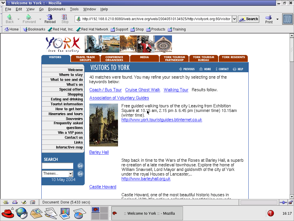 Red Hat 8.0 with Mozilla Suite 1.0 displaying a page from Visit York archived at May 10, 2004 at 13:49:25