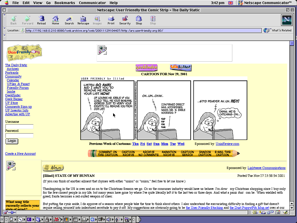 Mac OS 9.0.4 PPC with Netscape Communicator 4.73 displaying a page from User Friendly archived at November 29, 2001 at 10:44:07