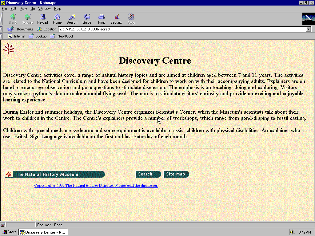 Windows 95 OSR2 x86 with Netscape Navigator 4.0 displaying a page from Natural History Museum archived at October 21, 1997 at 19:39:34