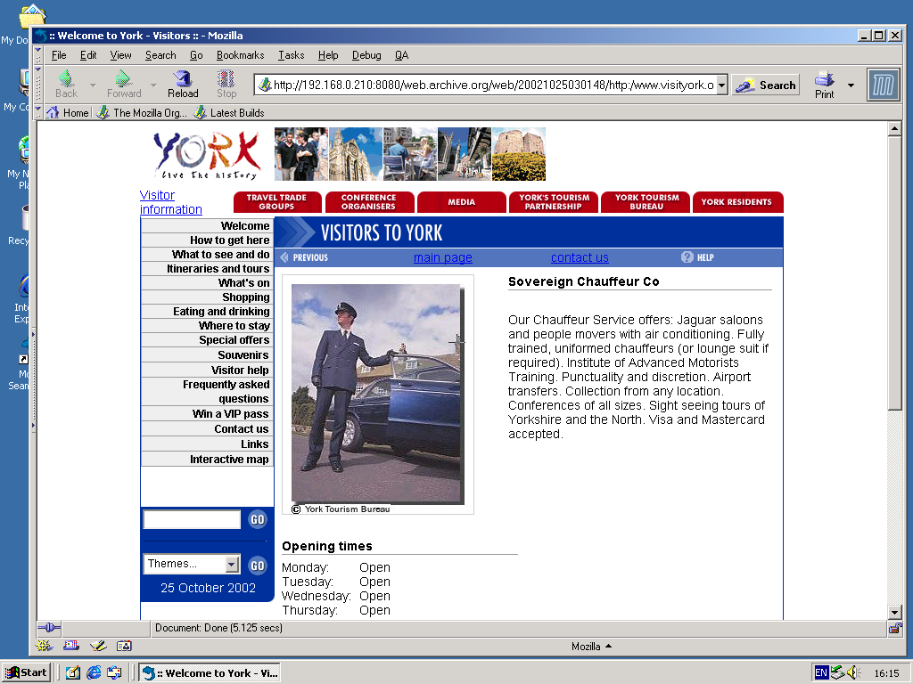 Windows 2000 Pro x86 with Mozilla Suite 0.6 displaying a page from Visit York archived at October 25, 2002 at 03:01:48