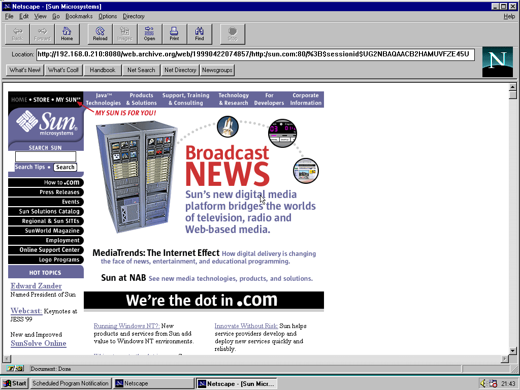 Windows 95 RTM x86 with Netscape Navigator 1.1 displaying a page from Sun Microsystems archived at April 22, 1999 at 07:48:57