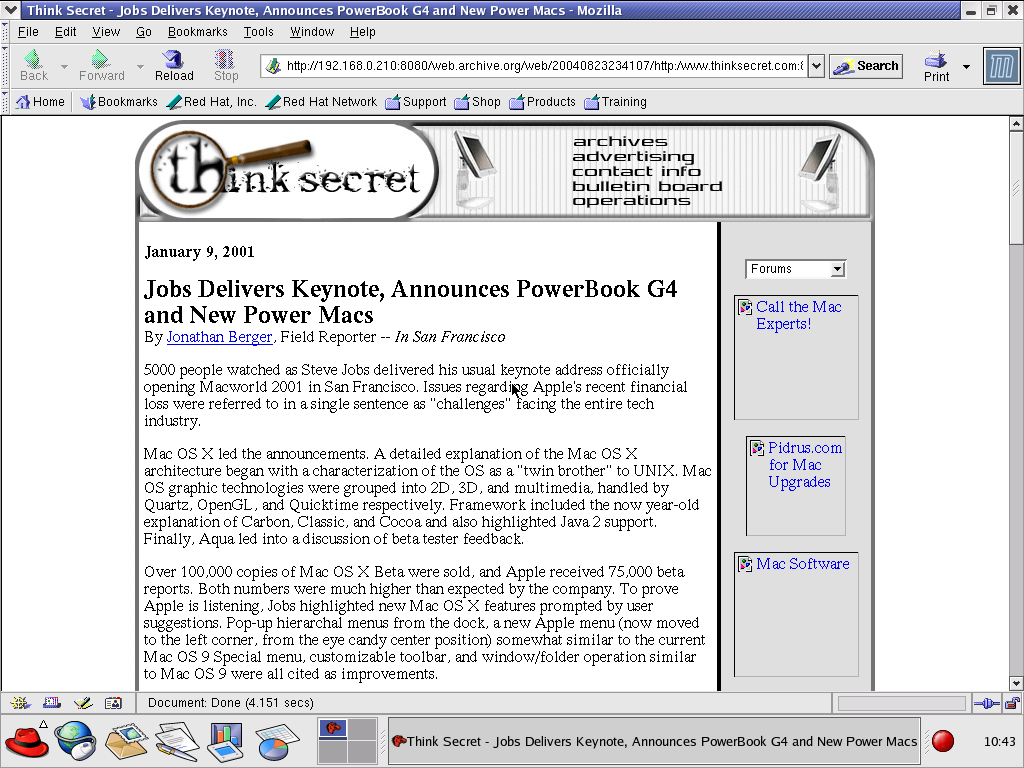 Red Hat 8.0 with Mozilla Suite 1.0 displaying a page from Think Secret archived at August 23, 2004 at 23:41:07