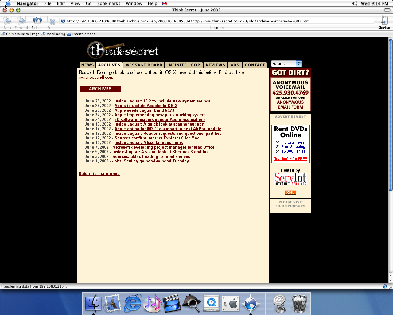 OS X 10.1 PPC with Chimera 0.6 displaying a page from Think Secret archived at October 18, 2003 at 08:53:34