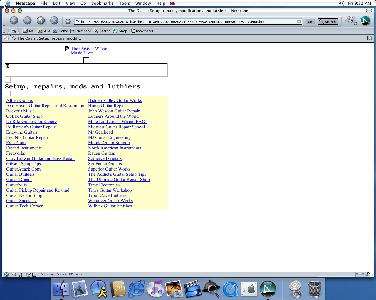 OS X 10.2 PPC with Netscape 7.0 displaying a page from GeoCities archived at October 08, 2002 at 08:14:08