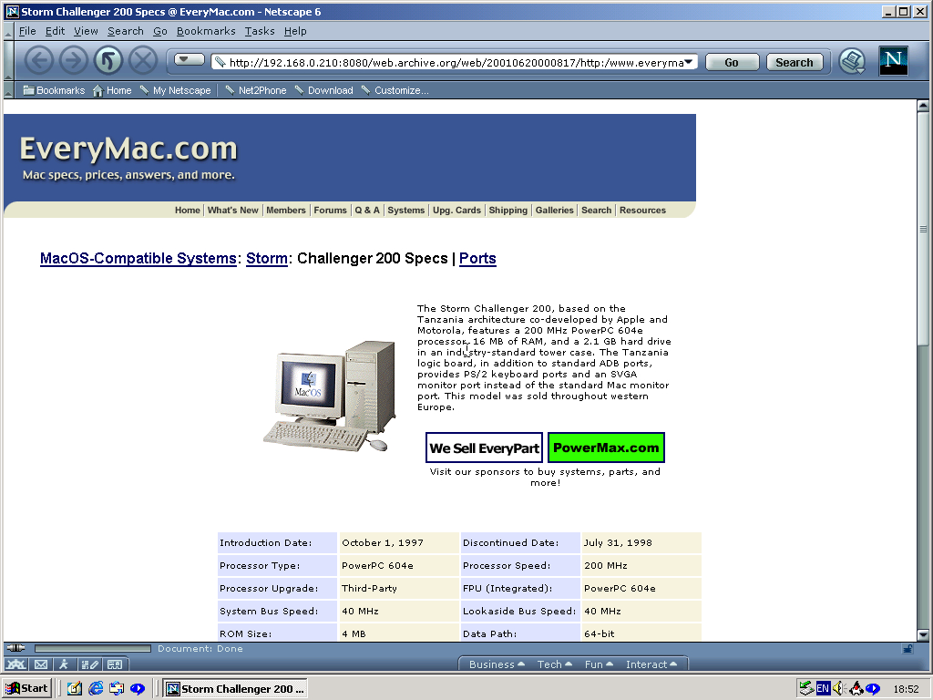 Windows 2000 Pro x86 with Netscape 6.0 displaying a page from EveryMac archived at June 20, 2001 at 00:08:17