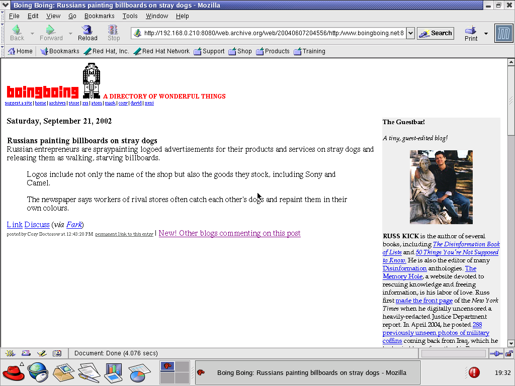 Red Hat 8.0 with Mozilla Suite 1.0 displaying a page from BoingBoing.net archived at June 07, 2004 at 20:45:56