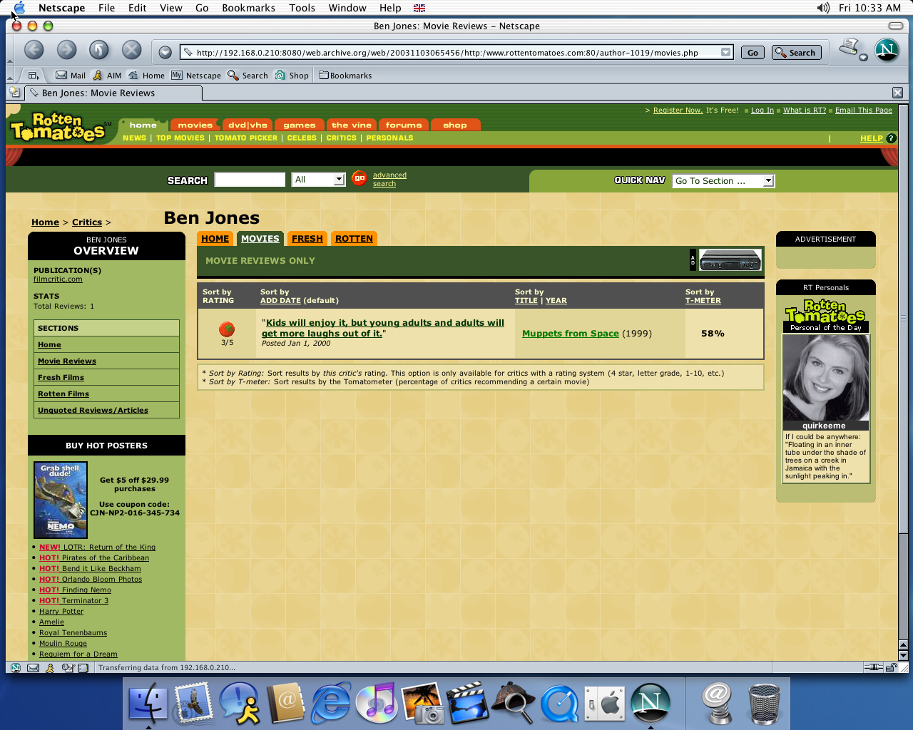 OS X 10.2 PPC with Netscape 7.0 displaying a page from Rotten Tomatoes archived at November 03, 2003 at 06:54:56