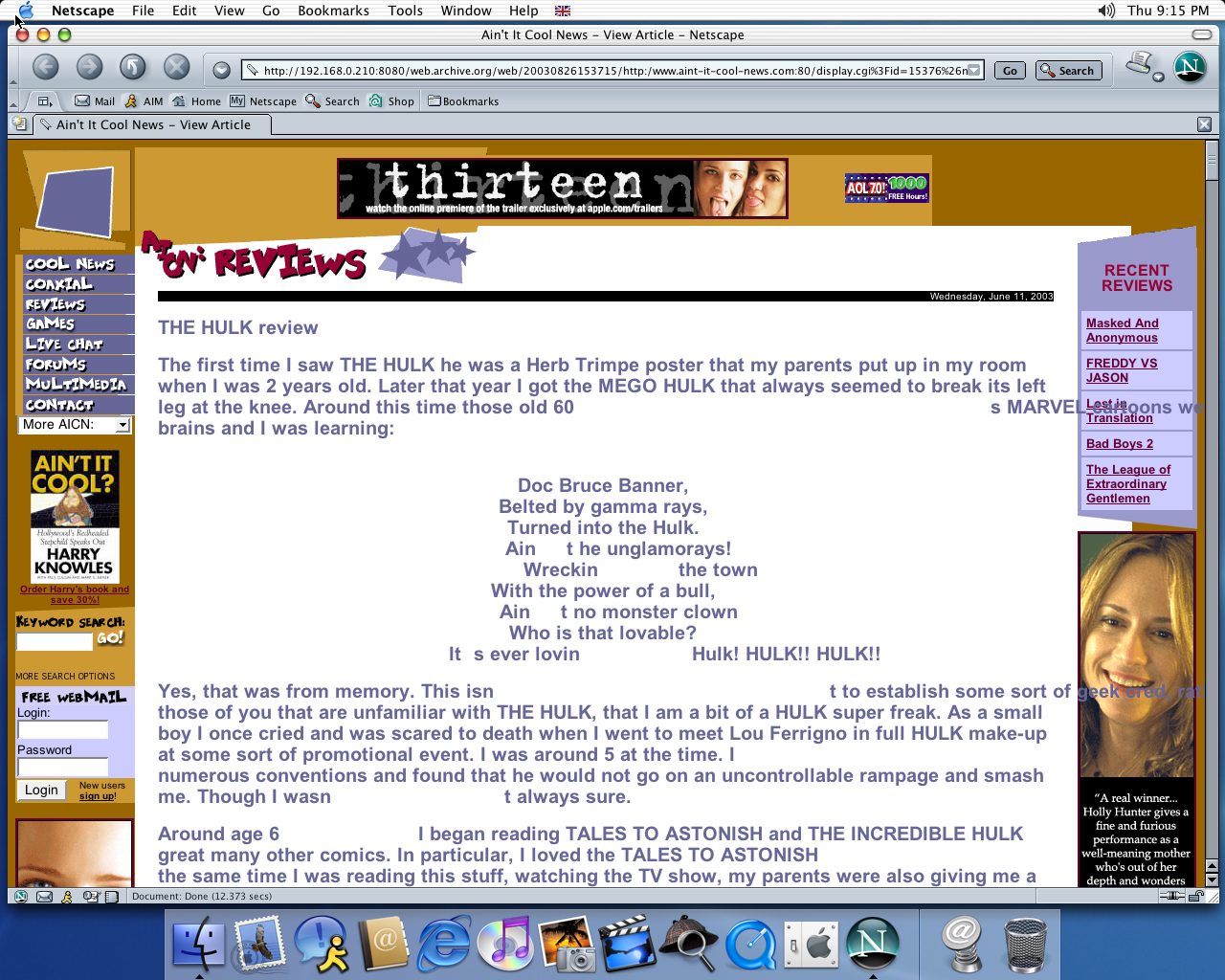 OS X 10.2 PPC with Netscape 7.0 displaying a page from Ain't it Cool News archived at August 26, 2003 at 15:37:15