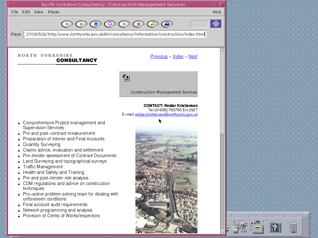 Solaris 2.6 SPARC with HotJava 1.0 displaying a page from North Yorkshire County Council archived at August 27, 1999 at 03:05:26