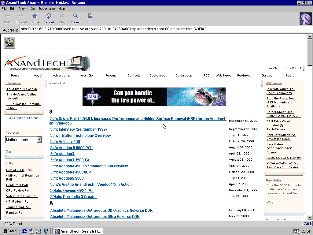 Windows 98 RTM x86 with HotJava 3.0 displaying a page from AnandTech archived at January 24, 2001 at 06:04:00