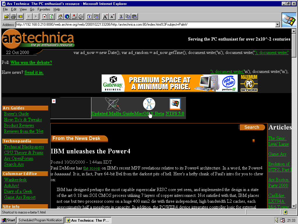 Windows 95 RTM x86 with Internet Explorer 2.0 displaying a page from Arstechnica.com archived at October 22, 2000 at 13:32:08