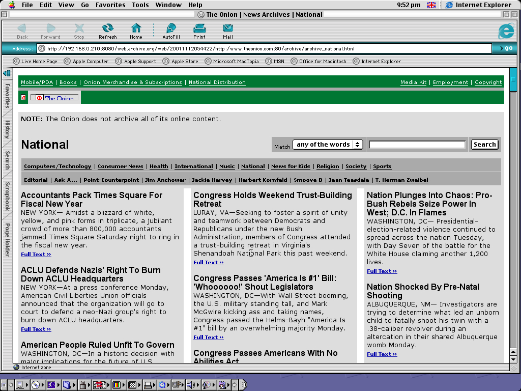 Mac OS 9.0.4 PPC with Internet Explorer 5.0 displaying a page from The Onion archived at November 12, 2001 at 05:44:22