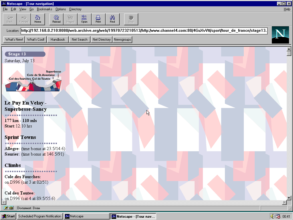 Windows 95 RTM x86 with Netscape Navigator 1.1 displaying a page from Channel 4 archived at July 23, 1997 at 21:05:13