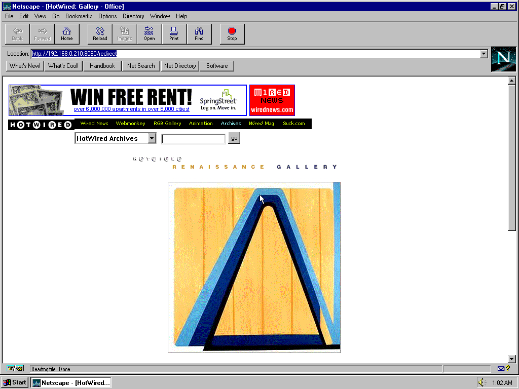 Windows 95 RTM x86 with Netscape Navigator 2.0 displaying a page from HotWired archived at October 08, 1999 at 01:27:33