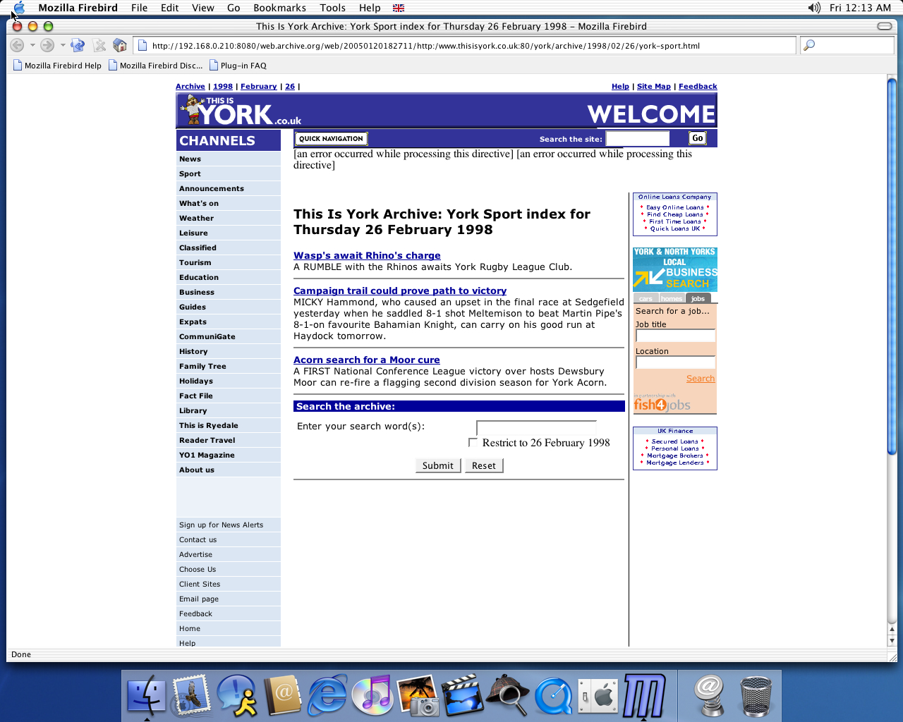 OS X 10.2 PPC with Firebird 0.6 displaying a page from York Press archived at January 20, 2005 at 18:27:11