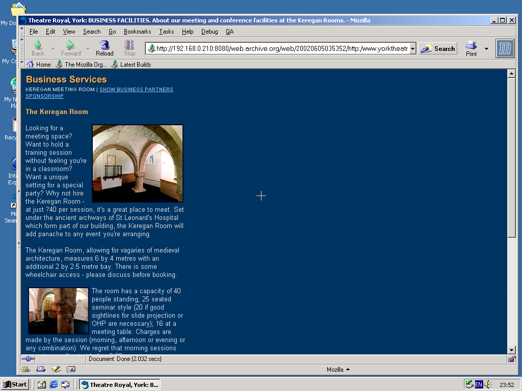 Windows 2000 Pro x86 with Mozilla Suite 0.6 displaying a page from York Theatre Royal archived at June 05, 2002 at 03:53:52
