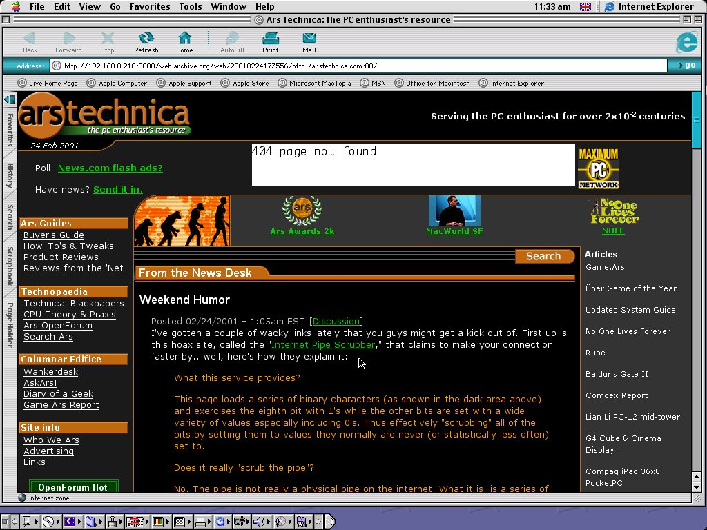 Mac OS 9.0.4 PPC with Internet Explorer 5.0 displaying a page from Arstechnica.com archived at February 24, 2001 at 17:35:56