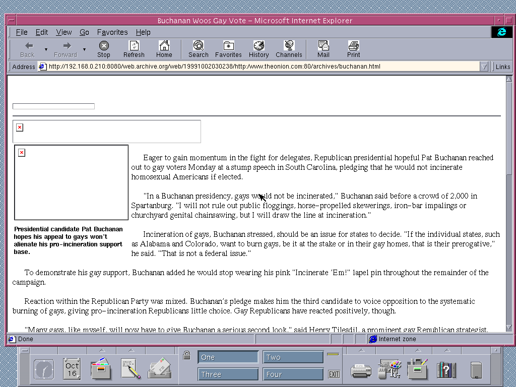 Solaris 2.6 SPARC with Internet Explorer 4.0 for UNIX displaying a page from The Onion archived at October 02, 1999 at 03:02:38