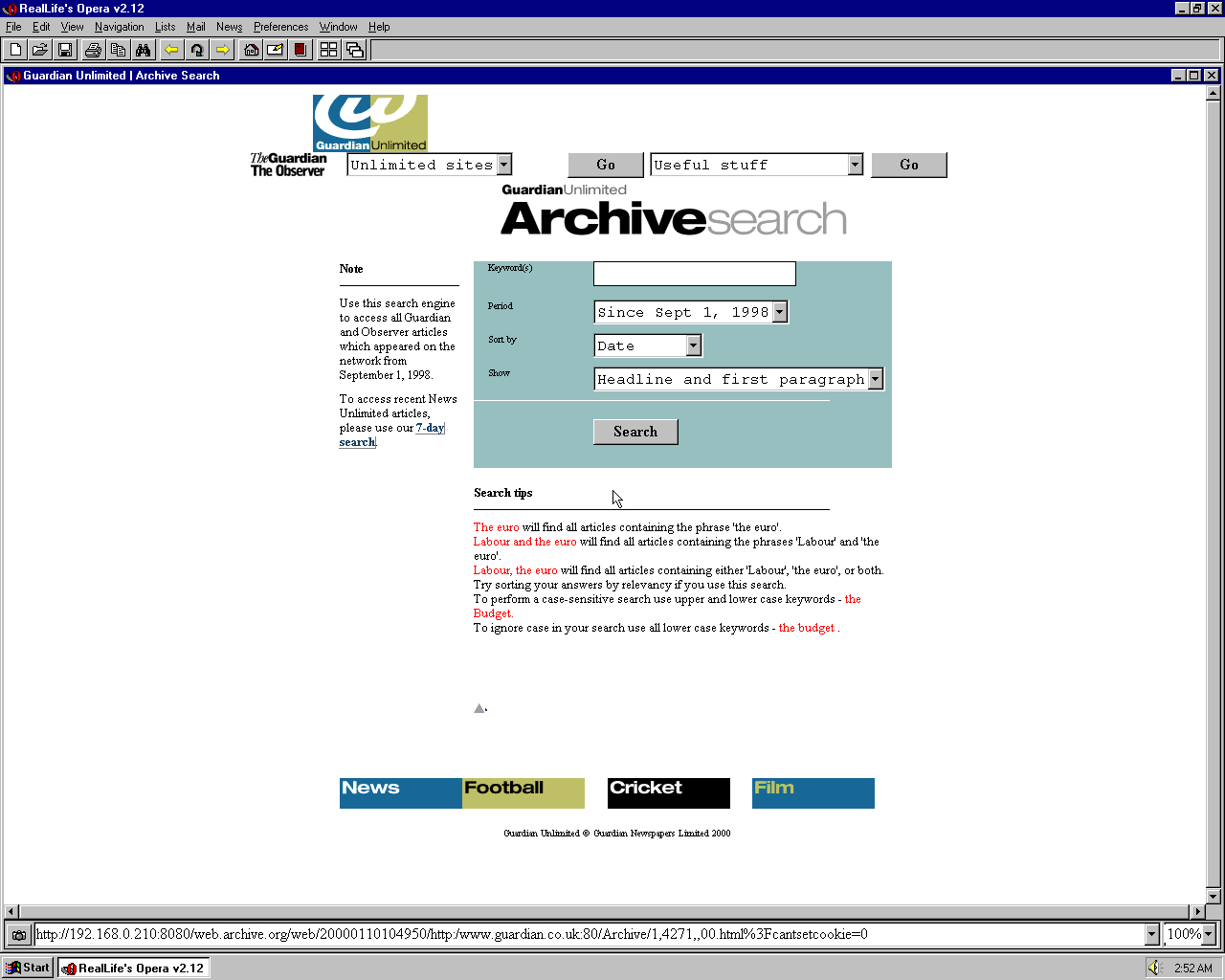 Windows 95 OSR2 x86 with Opera 2.12 displaying a page from The Guardian archived at January 10, 2000 at 10:49:50