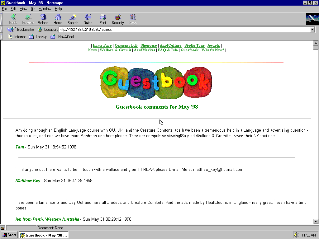 Windows 95 OSR2 x86 with Netscape Navigator 4.0 displaying a page from Aardman Animations archived at July 13, 1998 at 01:37:01