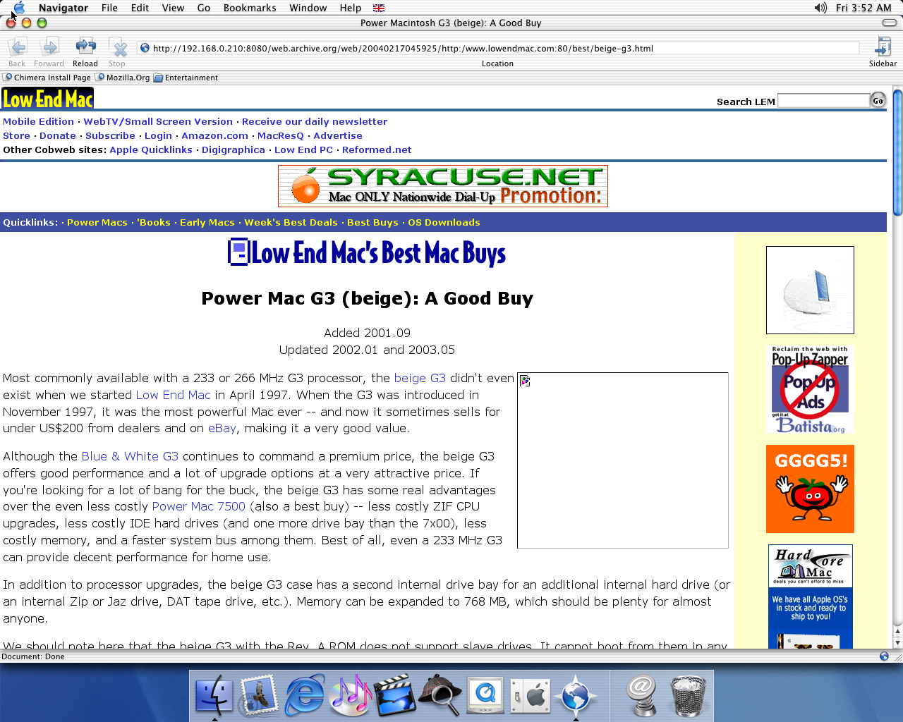 OS X 10.1 PPC with Chimera 0.6 displaying a page from Low End Mac archived at February 17, 2004 at 04:59:25