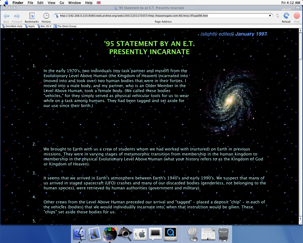 OS X 10.0 PPC with OmniWeb 4.0 displaying a page from Heaven's Gate archived at December 01, 2001 at 17:30:57