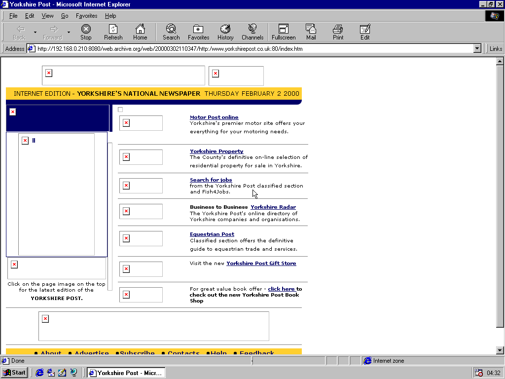 Windows 98 RTM x86 with Internet Explorer 4.0 displaying a page from The Yorkshire Post archived at March 02, 2000 at 11:03:47