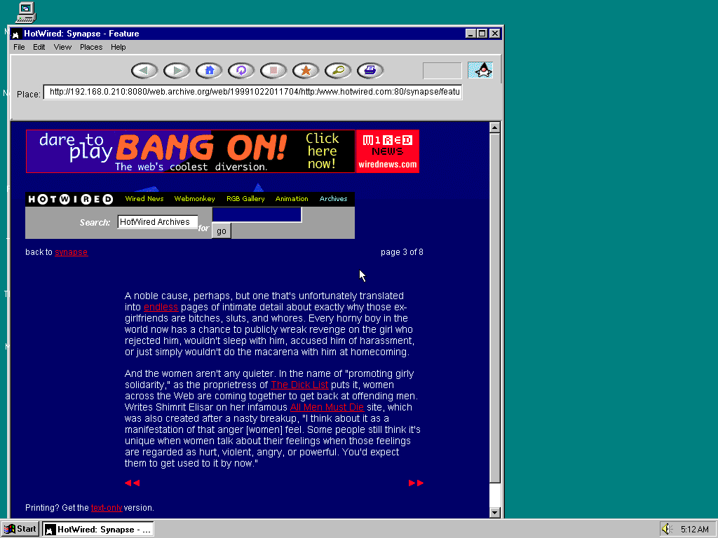 Windows 95 OSR2 x86 with HotJava 1.0 displaying a page from HotWired archived at October 22, 1999 at 01:17:04